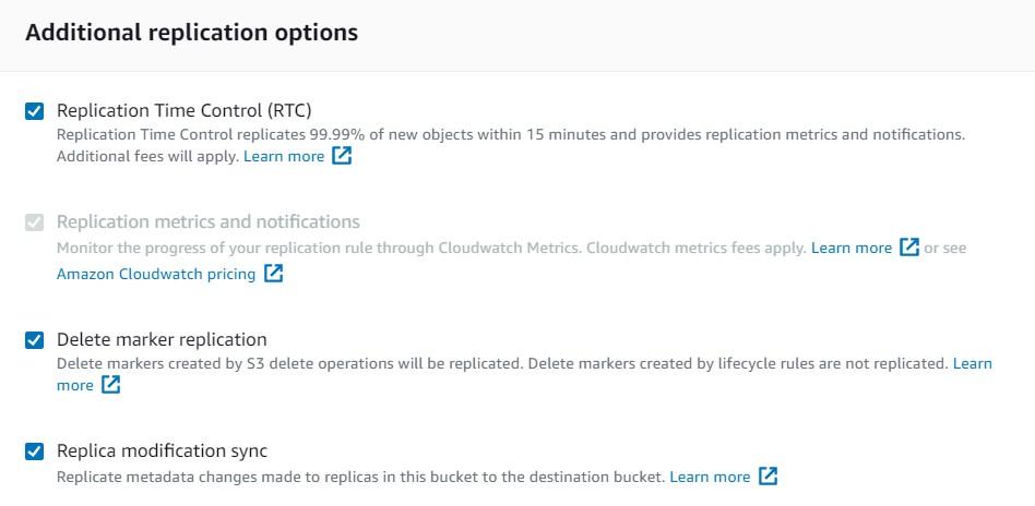 Additional replication options