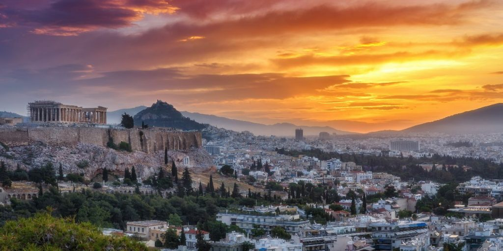 Athens Greece at sunset