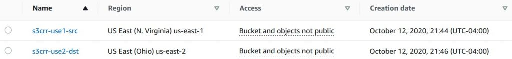 Create a source and destination bucket