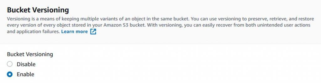 Bucket versioning
