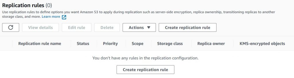 • Navigate and click into the management tab of the bucket. Under the replication rules section, click create replication rule. This is where you create a replication rule to migrate the existing objects.