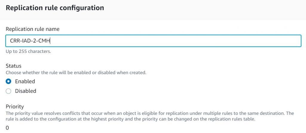 Replication rule configuration