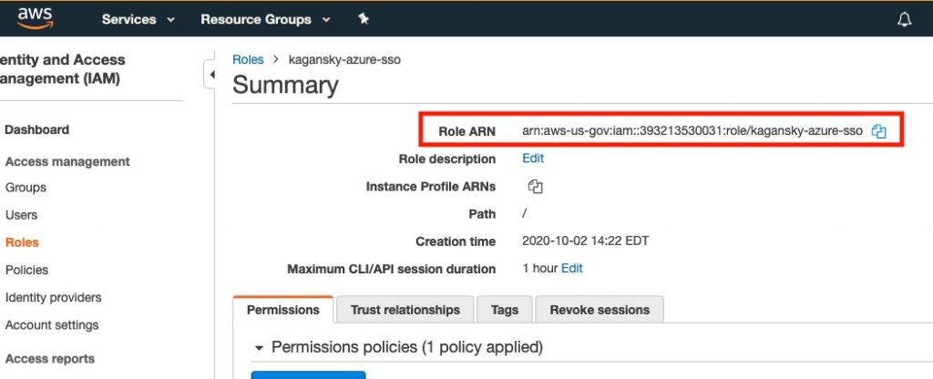 Accessing GovCloud through the CLI with Azure AD credentials IAM summary