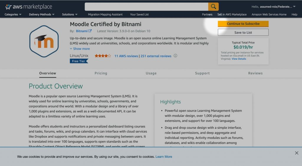 Moodle Certified by Bitnami in the AWS Marketplace