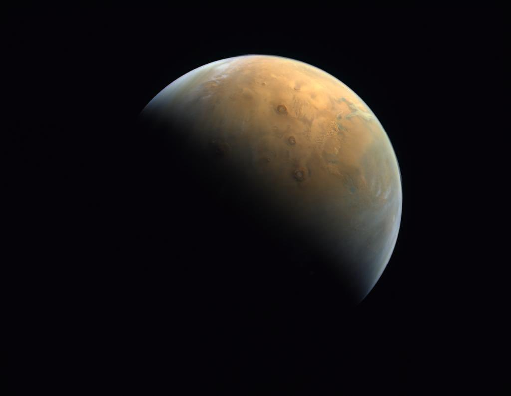 First image returned of Mars from the Hope Probe (source: https://twitter.com/MohamedBinZayed/status/1360882127164887042)