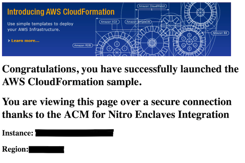 Figure 3: A sample webpage served by the AWS for Nitro Enclaves sample application
