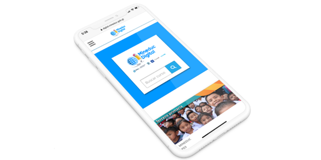 Mineduc Digital app on a smart phone