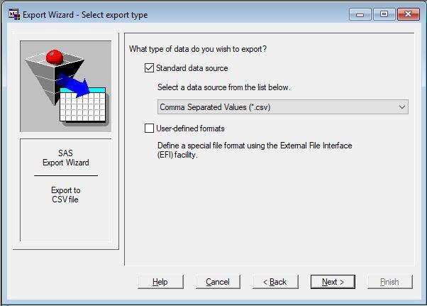 Figure 1: SAS Export Wizard