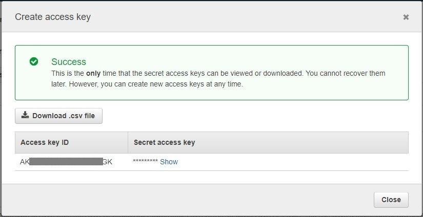Figure 4: access key creation