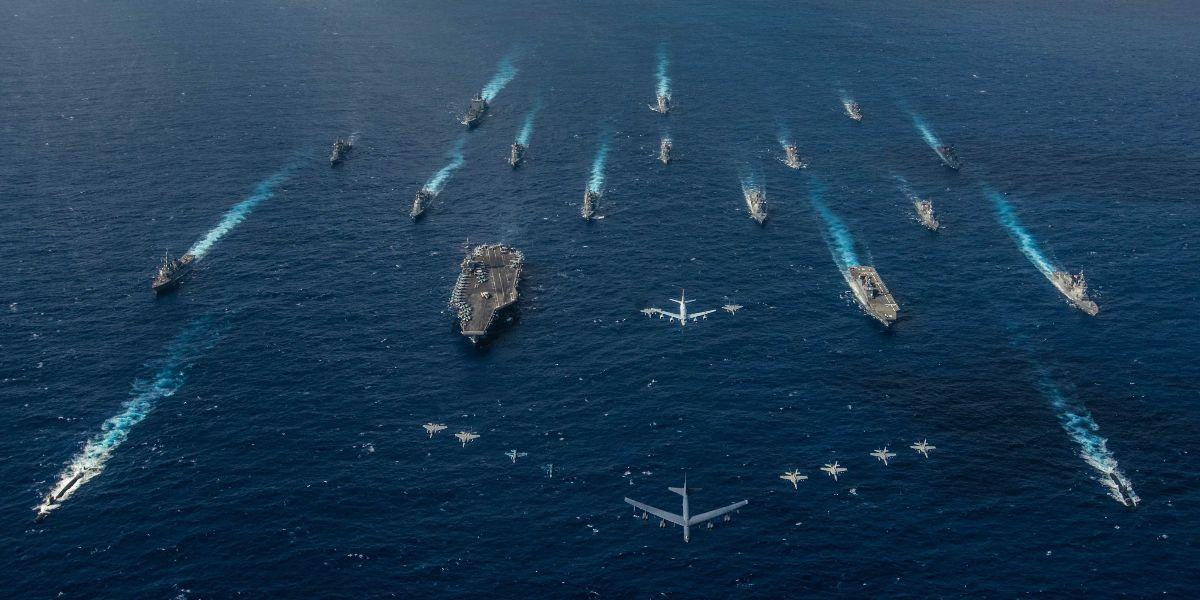 navy ships at sea aerial view