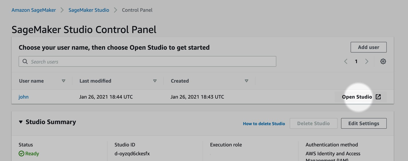 Figure 9: 2.On the Studio Control Panel, choose Open Studio next to the user name.