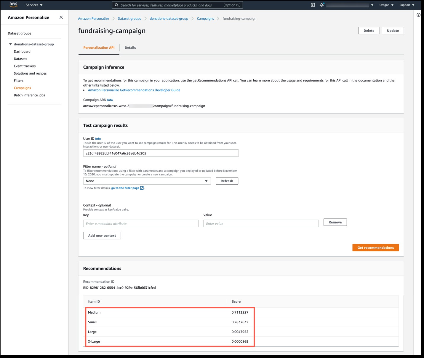 Figure 4: The Campaigns tab of the Amazon Personalize console, providing donation recommendations for a user