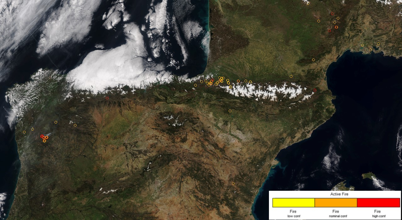 Cropped Active Fire (AF) locations image showing the south of France and Iberian Peninsula, produced using IPOPP's VIIRS-AF SPA. The red circles indicate active fire areas of high confidence.