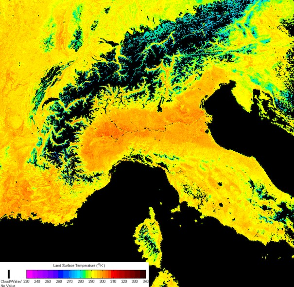 Cropped Land Surface Temperature (LST) image showing the north of Italy and the Alps, produced using IPOPP's LST SPA. The warmer colors indicate higher absolute temperature in Kelvin on a March day.