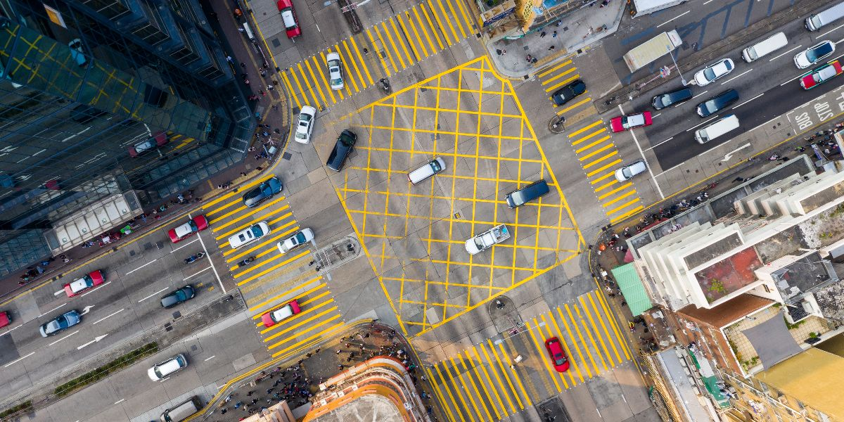 birds eye view intersection hong kong