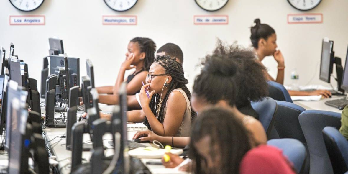 Howard University students in a computer lab