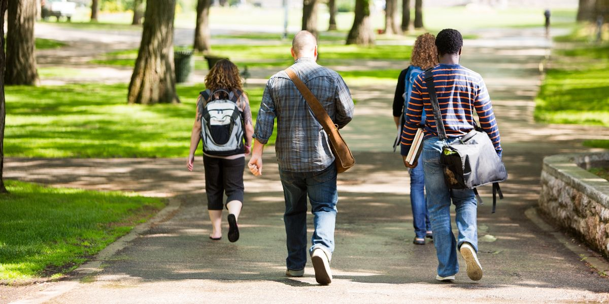 four students walking along a tree-lined path on a college campus
