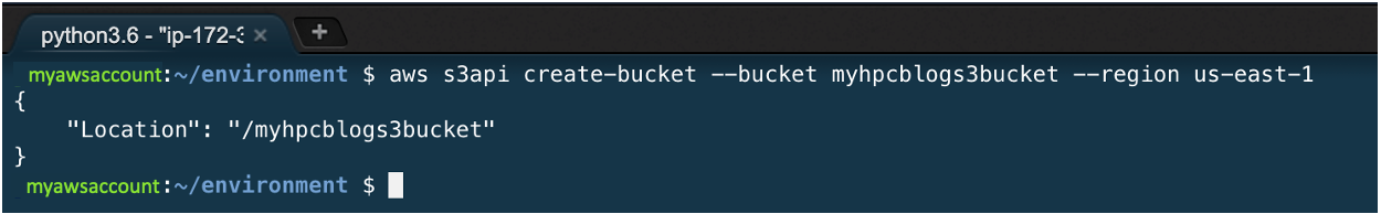 Figure 12. The API responds with the name of your created bucket; here, it is myhpcblogs3bucket.