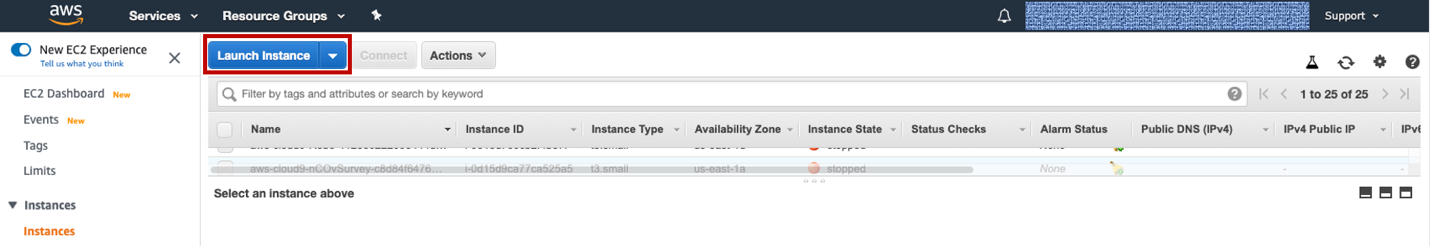 Figure 2. In the EC2 dashboard, under Instances, select the Launch Instance button.