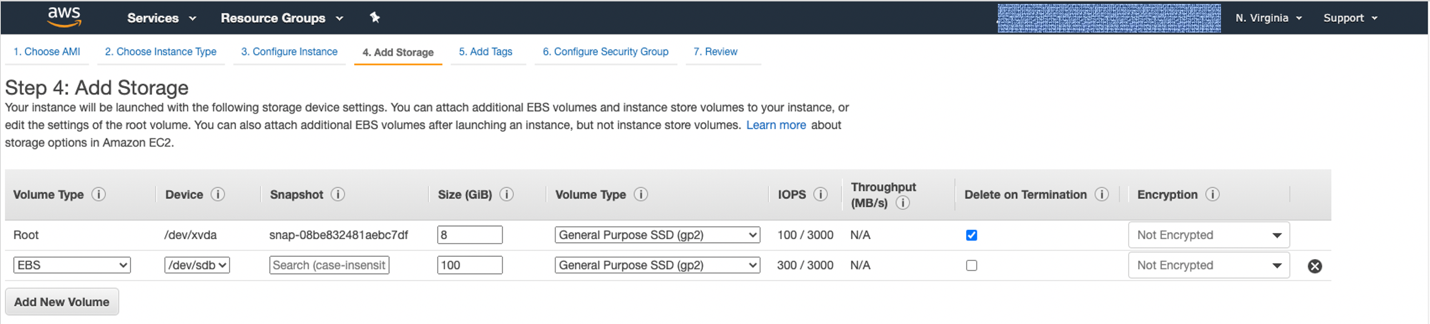 Figure 3. When you select Add New Volume, under Size, add in 100, and under Volume Type, select General Purpose SSD.