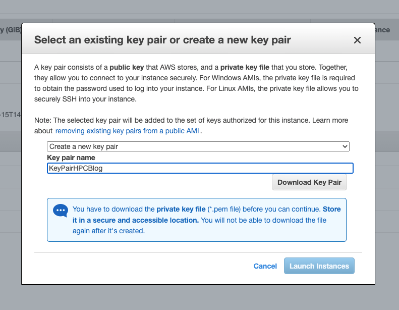 Figure 4. In the Key pair name, type KeyPairHPCBlog and then select Download Key Pair and then Launch Instance.