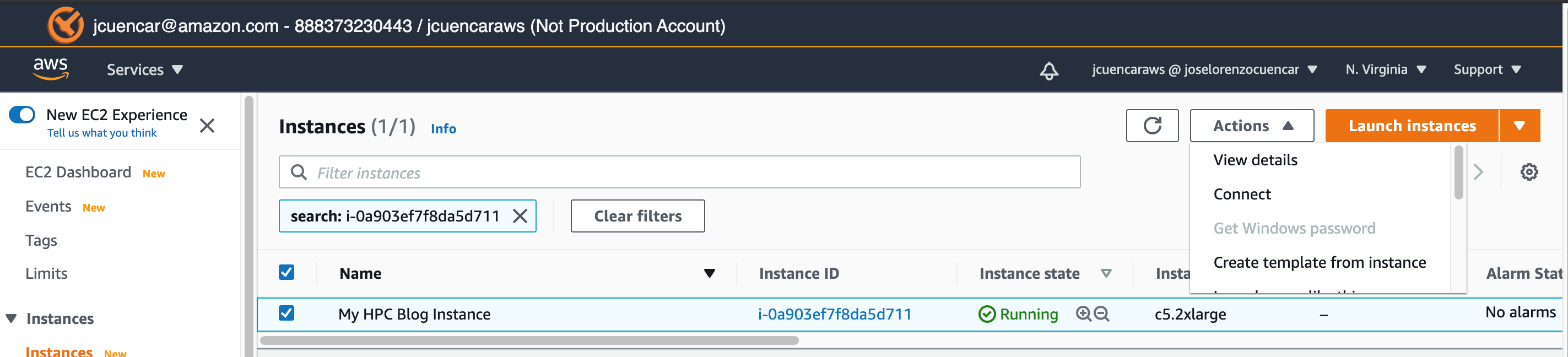Figure 5. Select the checkbox next to the instance name.
