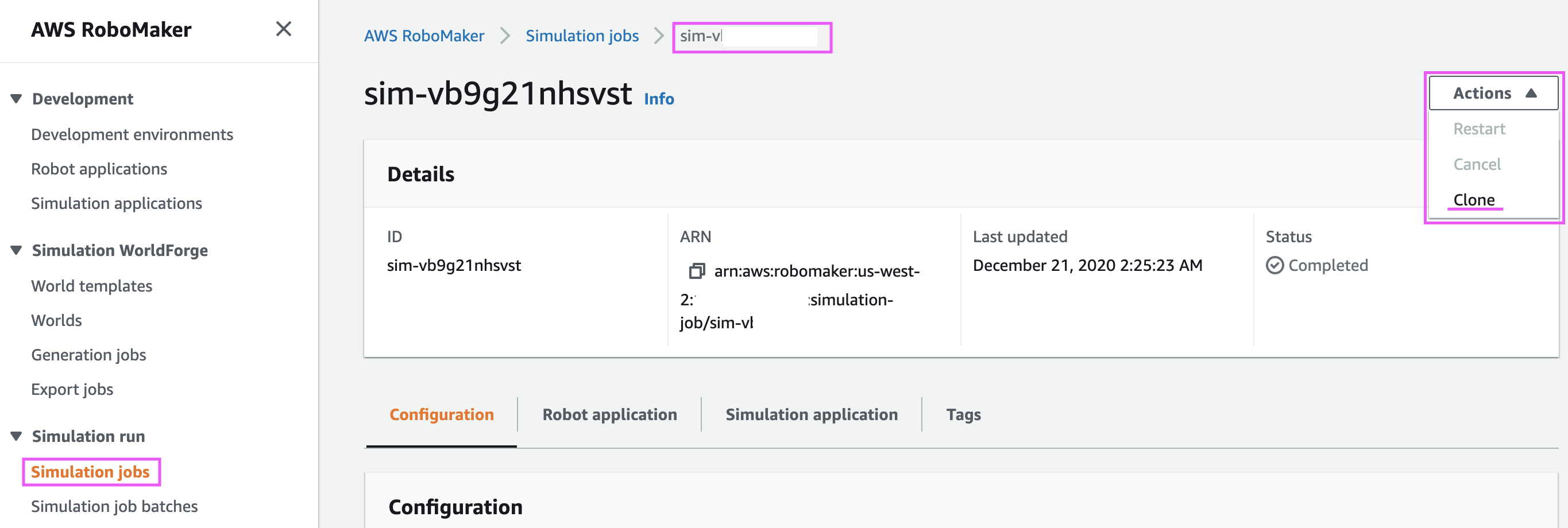 Clone a simulation job in AWS RoboMaker