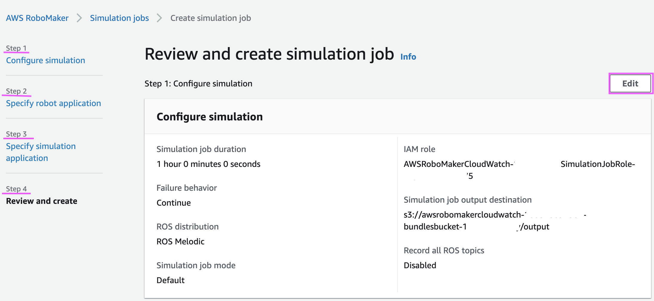 Configure a simulation job in AWS RoboMaker