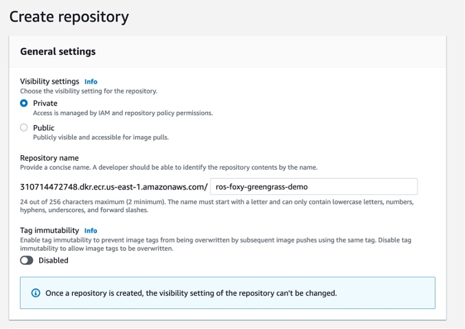 Console view to create a new ECR repository.
