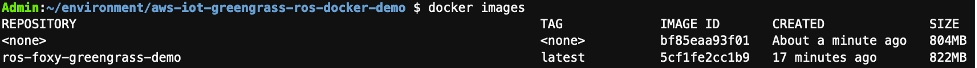 docker images command results