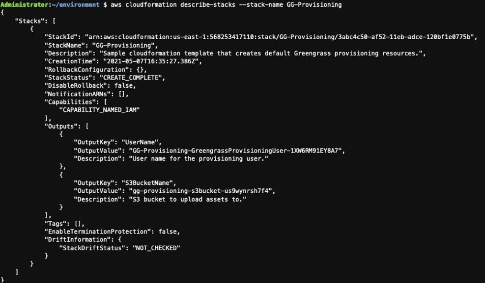 Result of CloudFormation describe stack.