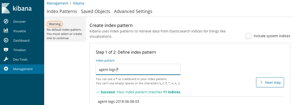 Image showing the Kbana Management settings page to define an index pattern