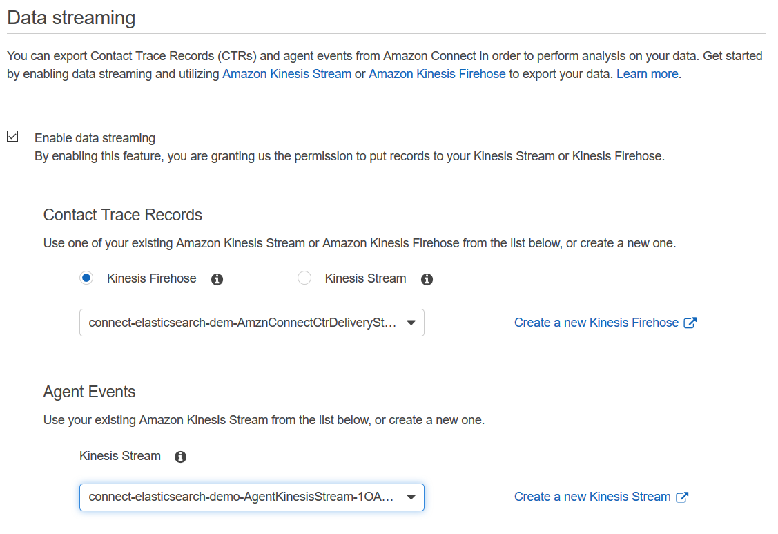 Image showing the Data streaming settings page in Amazon Connect with the streams created for this demo selected