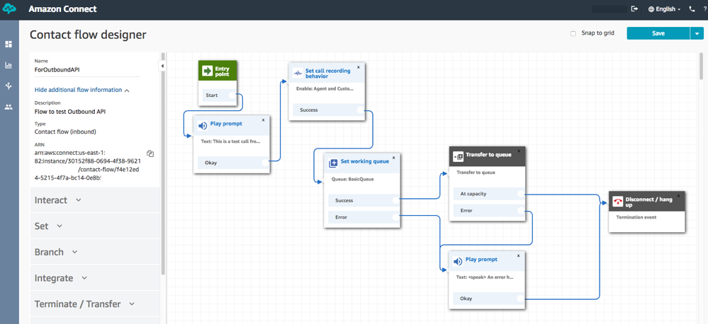 Amazon Connect contact flow designer sample flow screenshot.
