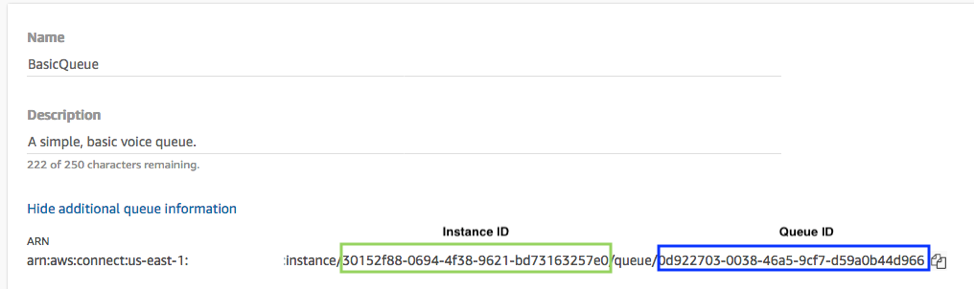 Assigning the Amazon Connect instance ID and queueID.