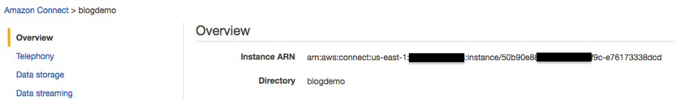 Screenshot showing where to find the Connect instance ARN