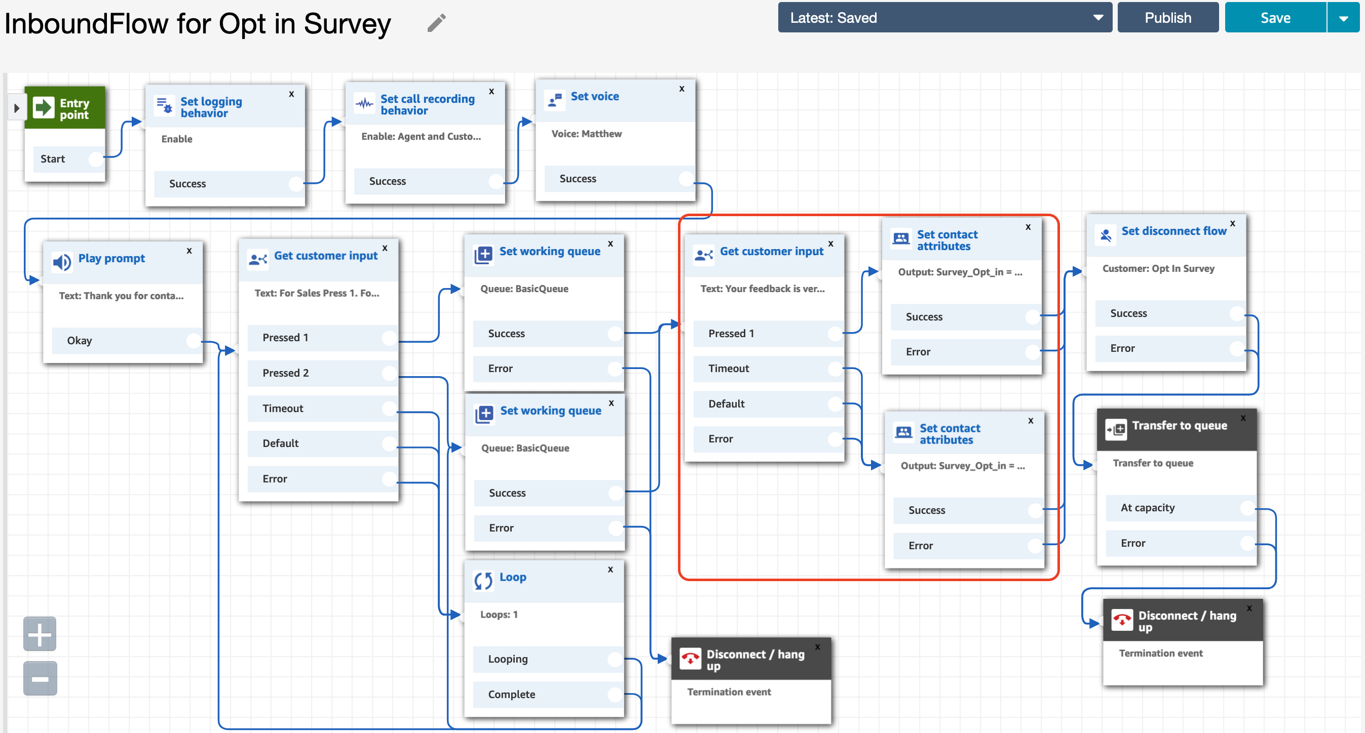 Sample contact flow for opt-in post call survey