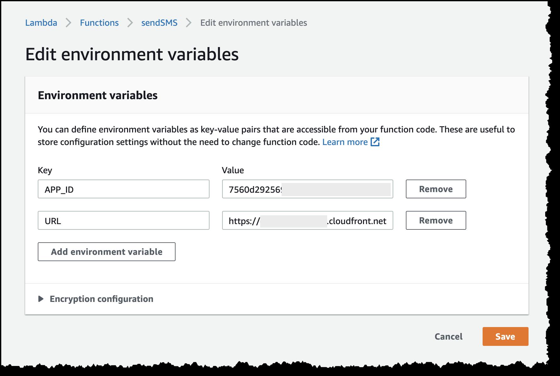 lambda environment variable