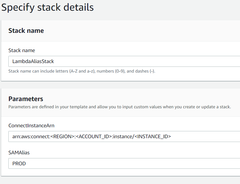 An example of what the Parameters section   of the Cloudformation Stack might be