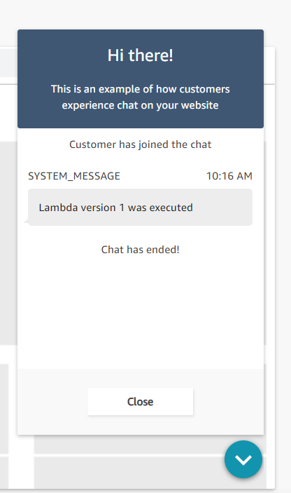 An example of what the test chat window will show when executing a Lambda function version.