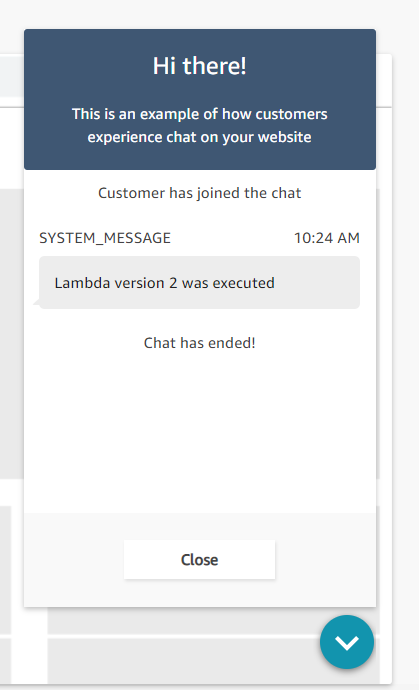 The test chat interface showing a new version of the function was executed.