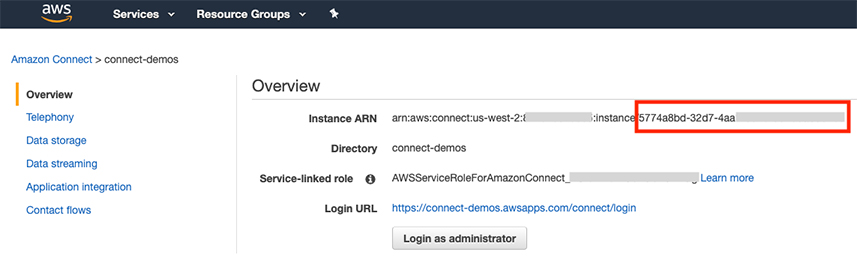 Screenshot of Amazon Connect console showing Instance ARN