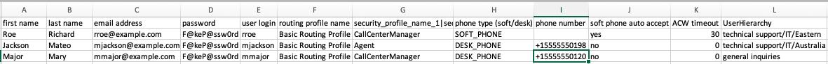 Screenshot of sample Excel template file