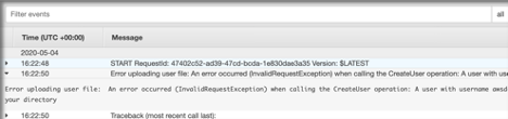 Sample screenshot of CloudWatch log