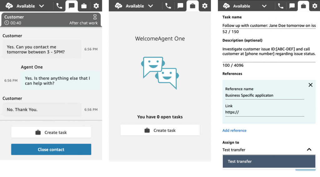Agent experience in Amazon Connect for creating a task.