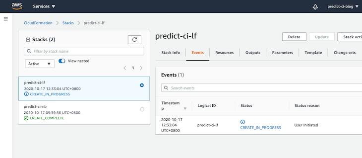 Create CloudFormation stack status