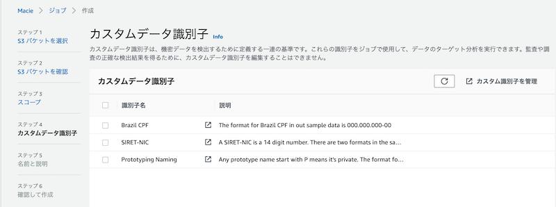 図9 カスタムデータ識別子の選択