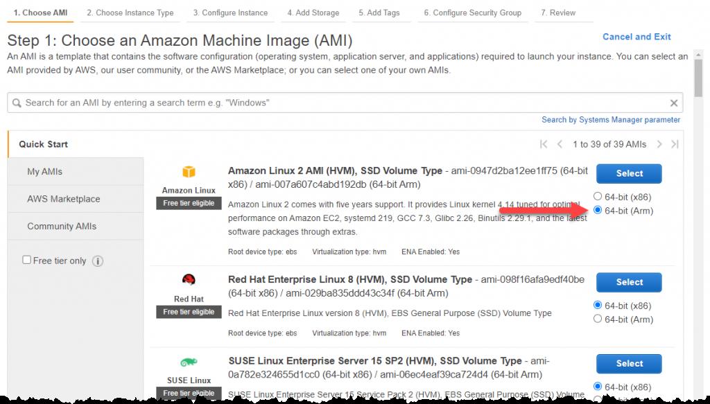 Amazon Machine Image 64-bit (Arm) selection