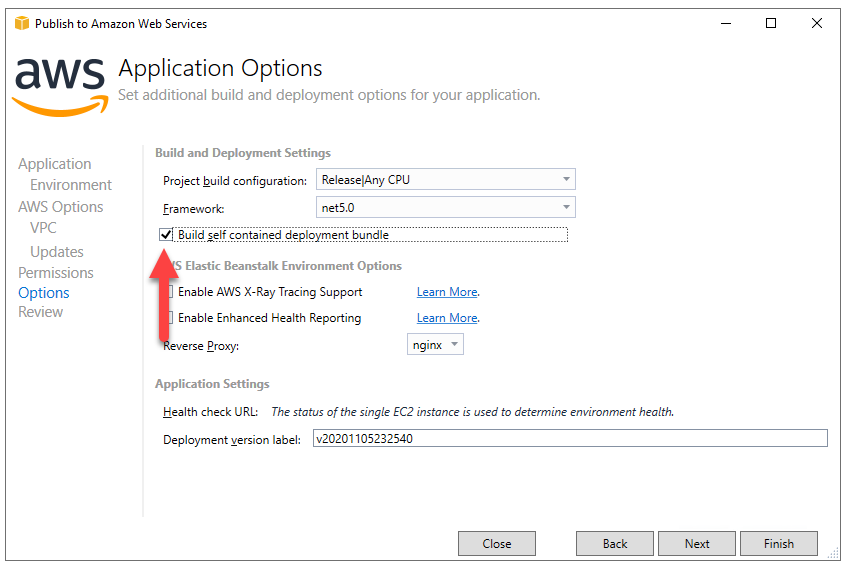 Elastic Beanstalk Publish Applicaiton Options