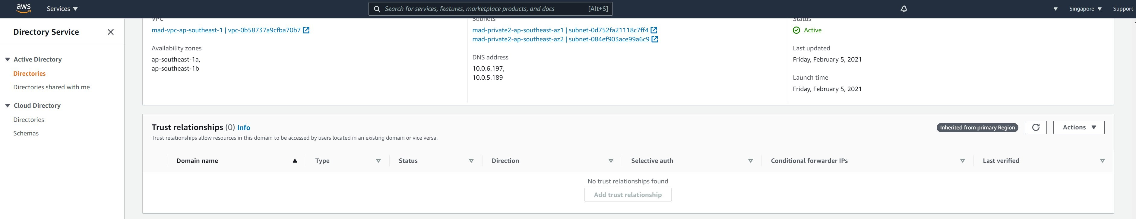 Creation of trusts from secondary Region in AWS Managed Microsoft AD